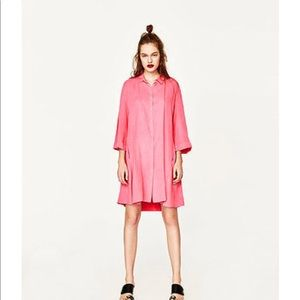 NWT Zara Flowing Swing Dress In Bubblegum Pink
